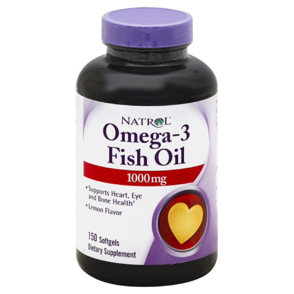 Natrol Lemon Flavor Softgels 1000 mg Omega-3 Fish Oil, 150 Sg
