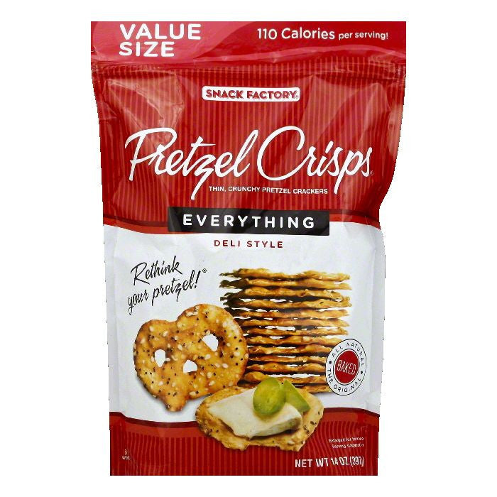 Pretzel Crisps Value Size Everything Crunchy Thin Pretzel Crackers, 14 OZ (Pack of 12)