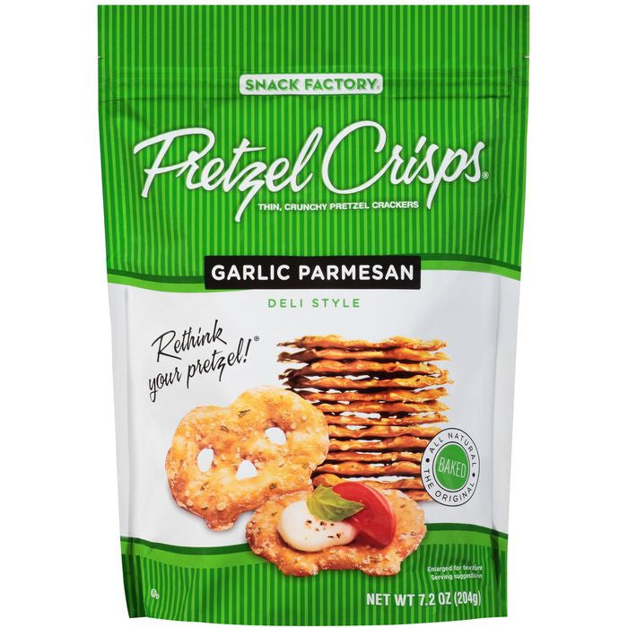 Pretzel Crisps Garlic Parmesan Deli Style Pretzel Crackers 7.2 Oz Bag (Pack of 12)