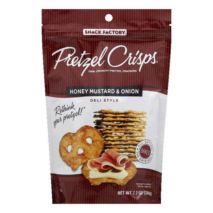 Snack Factory Honey Mustard & Onion Pretzel Crisps, 7.2 Oz (Pack of 12)