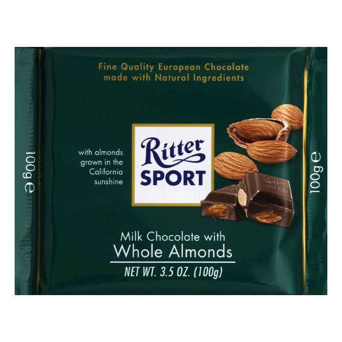 Ritter Sport Chocolate Bar Milk Whole Almond, 3.5 OZ (Pack of 11)
