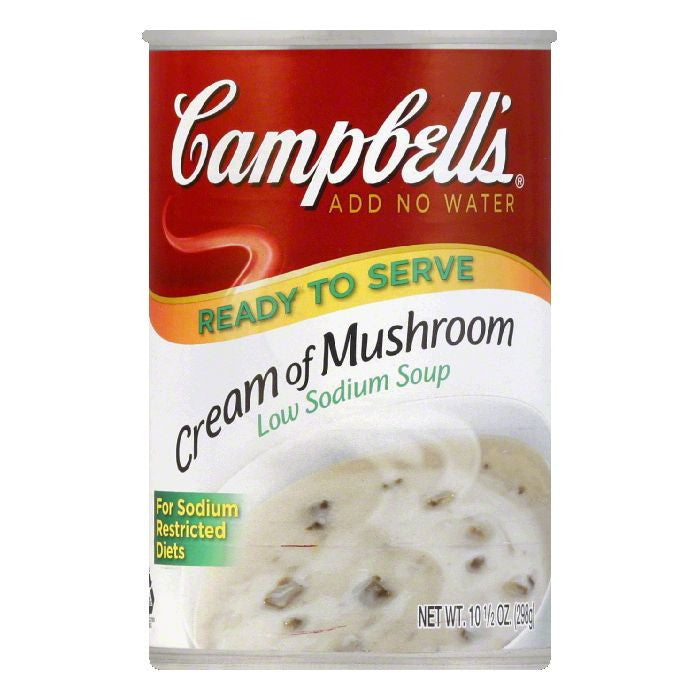 Campbells Low Sodium Cream of Mushroom Soup, 10.5 OZ (Pack of 12)