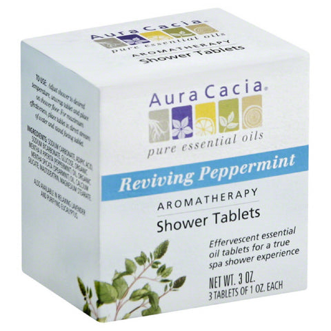 Aura Cacia Reviving Peppermint Aromatherapy Shower Tablets, 3 Oz