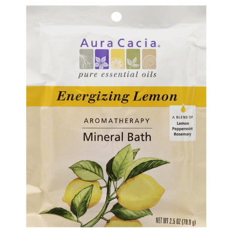 Aura Cacia Energizing Lemon Mineral Bath, 2.5 Oz (Pack of 6)