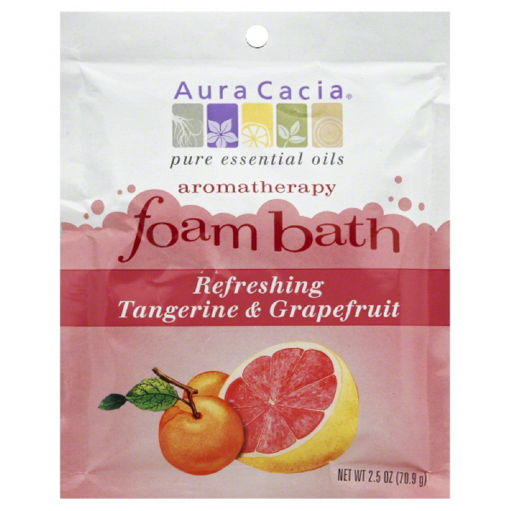 Aura Cacia Refreshing Tangerine & Grapefruit Aromatherapy Foam Bath, 2.5 Oz (Pack of 6)