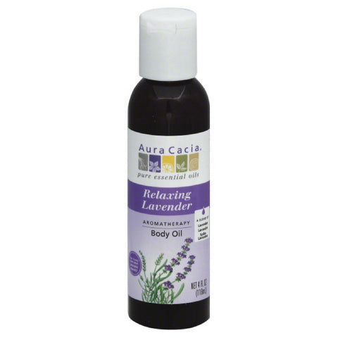 Aura Cacia Relaxing Lavender Aromatherapy Body Oil, 4 Oz