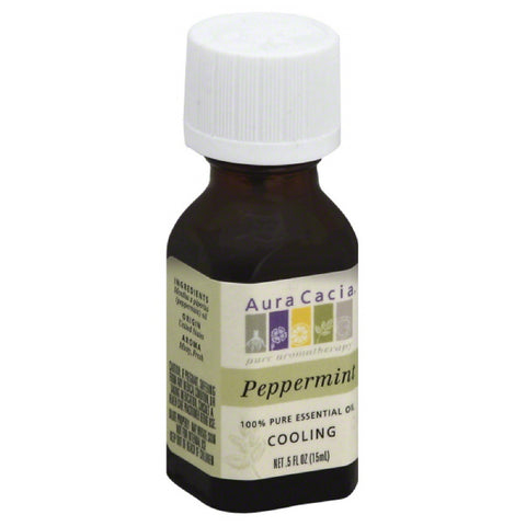 Aura Cacia Peppermint 100% Pure Essential Oil, 0.5 Oz