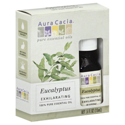 Aura Cacia Exhilarating Eucalyptus 100% Pure Essential Oil, 0.5 Oz