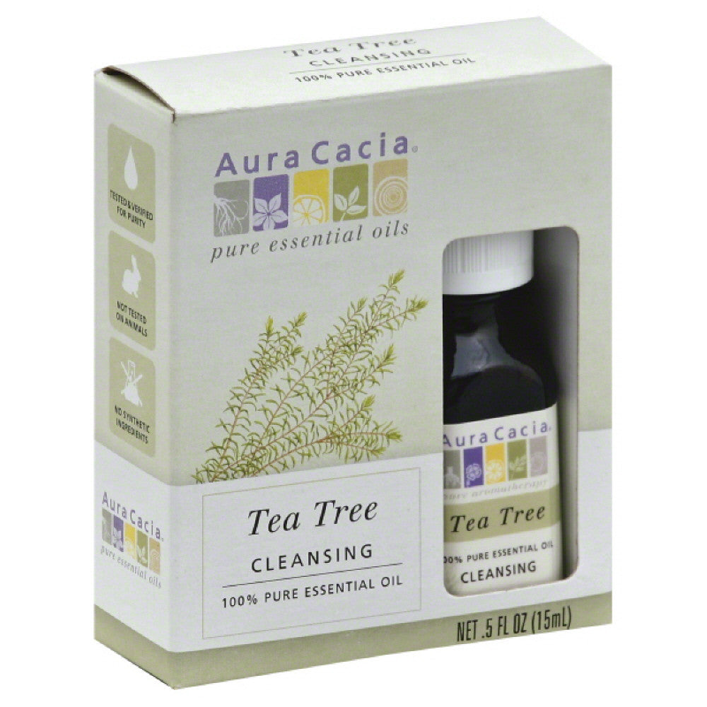 Aura Cacia Cleansing Tea Tree 100% Pure Essential Oil, 0.5 Fo