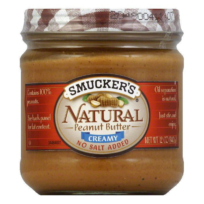 Smucker's Peanut Butter No Salt, 12 OZ (Pack of 12)