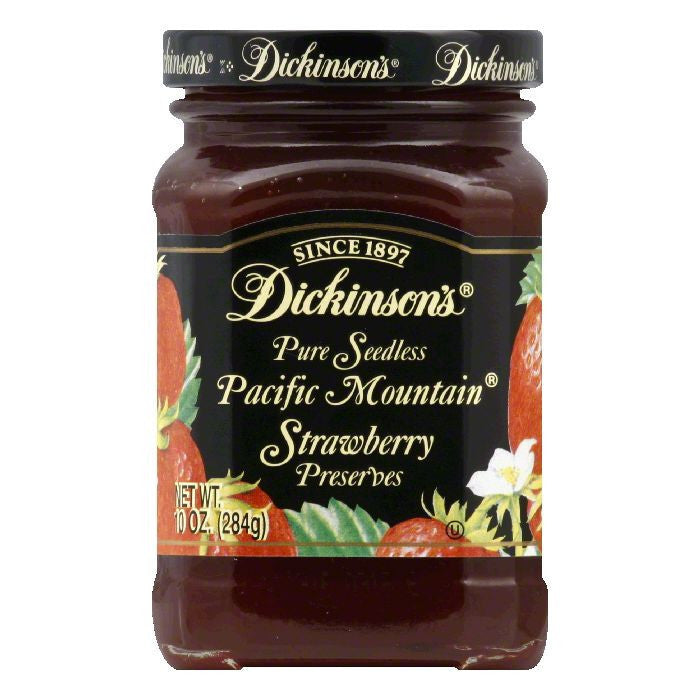 Dickinsons Preserves Strawberry Seedless, 10 OZ (Pack of 6)