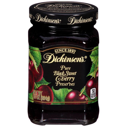 Dickinson's Pure Black Sweet Cherry Preserves 10 Oz  (Pack of 6)