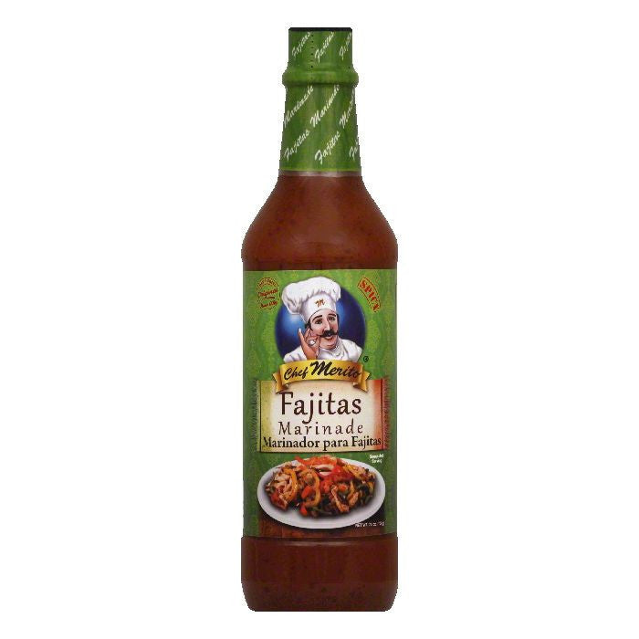 Chef Merito Fajita Marinade, 25 OZ (Pack of 12)
