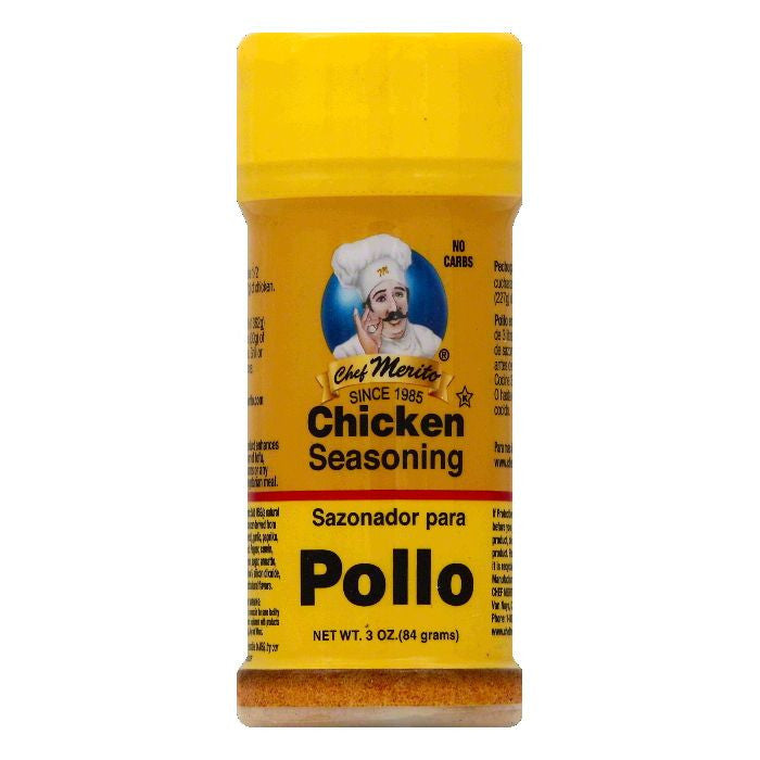 Chef Merito Chicken Seasoning, 3 OZ (Pack of 6)