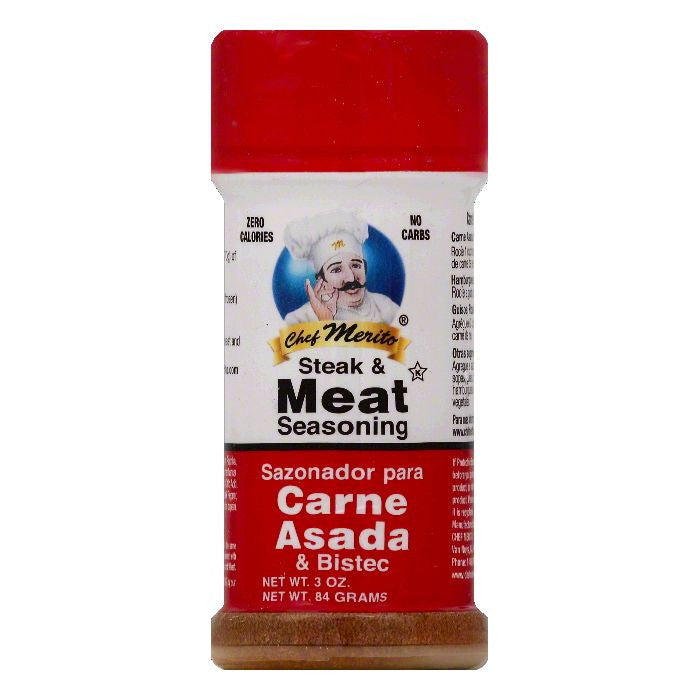 Chef Merito Steak & Meat Seasoning, 3 OZ (Pack of 6)