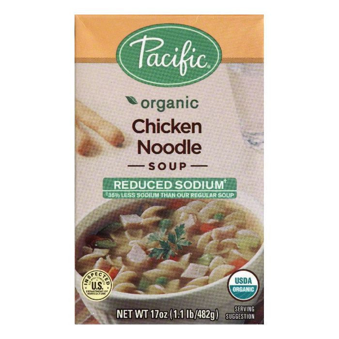 Pacific Reduced Sodium Chicken Noodle Soup, 17 Oz (Pack of 12)