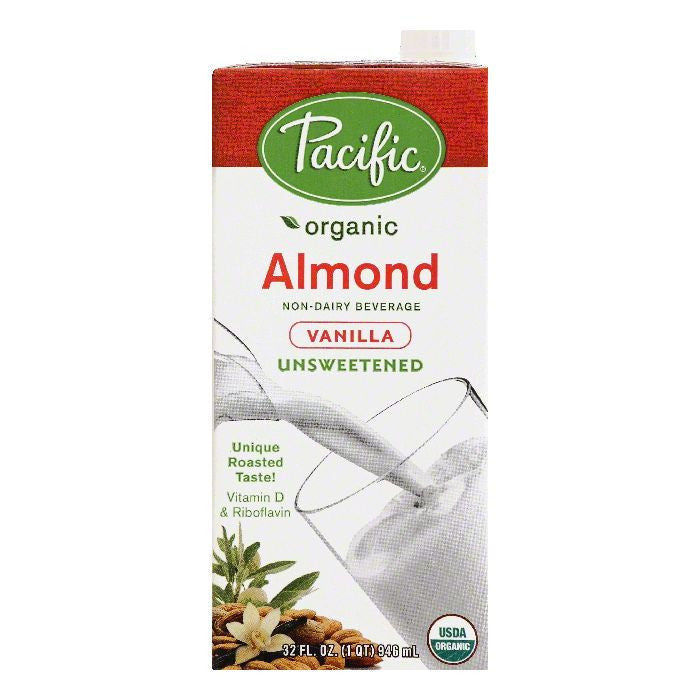Pacific Vanilla Unsweetened Almond Non-Dairy Beverage, 32 OZ (Pack of 12)