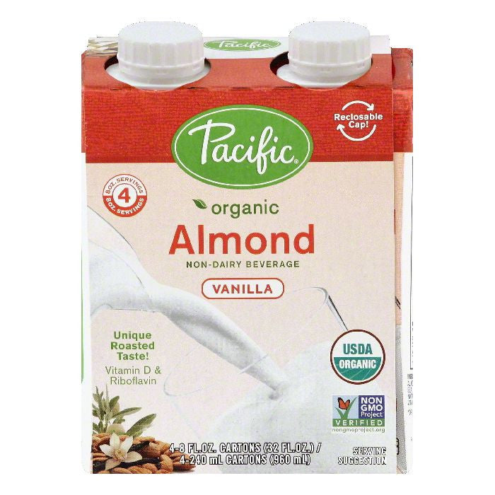Pacific Vanilla Almond Non-Dairy Beverage, 4 ea (Pack of 6)