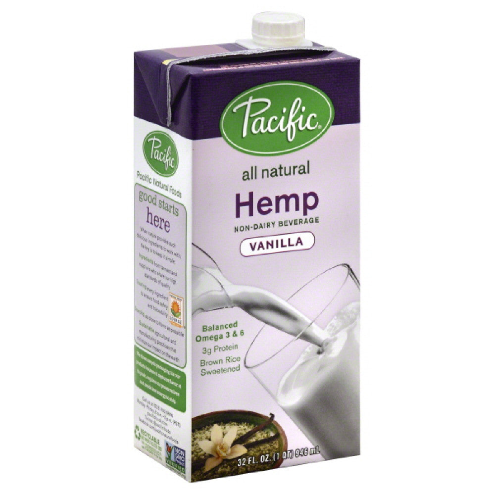 Pacific Vanilla Hemp Non-Dairy Beverage, 32 Oz (Pack of 12)