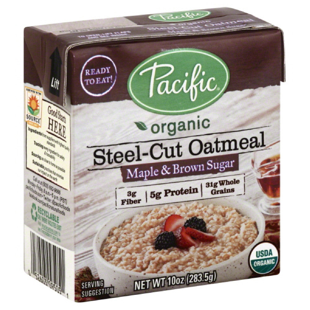 Pacific Maple & Brown Sugar Steel-Cut Oatmeal, 10 Oz (Pack of 12)