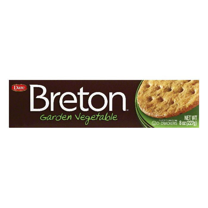 Dare Breton Crackers Mini Garden Vegetable, 8 OZ (Pack of 12)