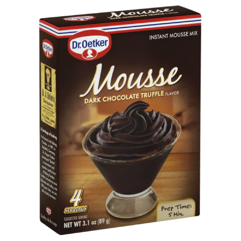 Dr. Oetker Dark Chocolate Truffle Flavor Instant Mousse Mix, 3.1 Oz (Pack of 12)