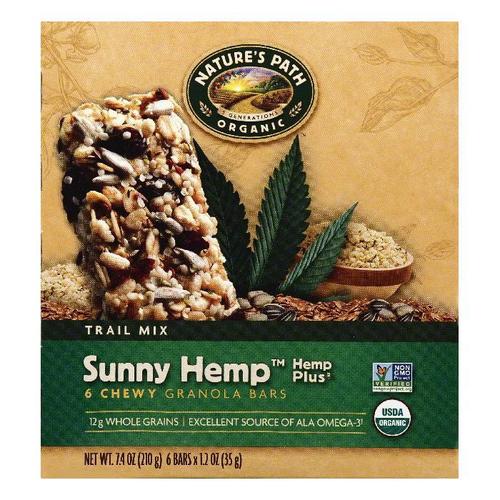 Natures Path Hemp Plus Sunny Hemp Trail Mix Chewy Granola Bars, 6 ea (Pack of 6)