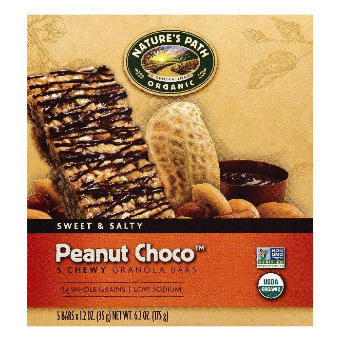 Natures Path Peanut Choco Chewy Granola Bars, 5 ea (Pack of 6)