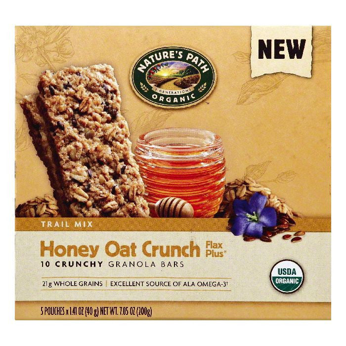 Natures Path Flax Plus Honey Oat Crunch Trail Mix Crunchy Granola Bars, 5 ea (Pack of 6)