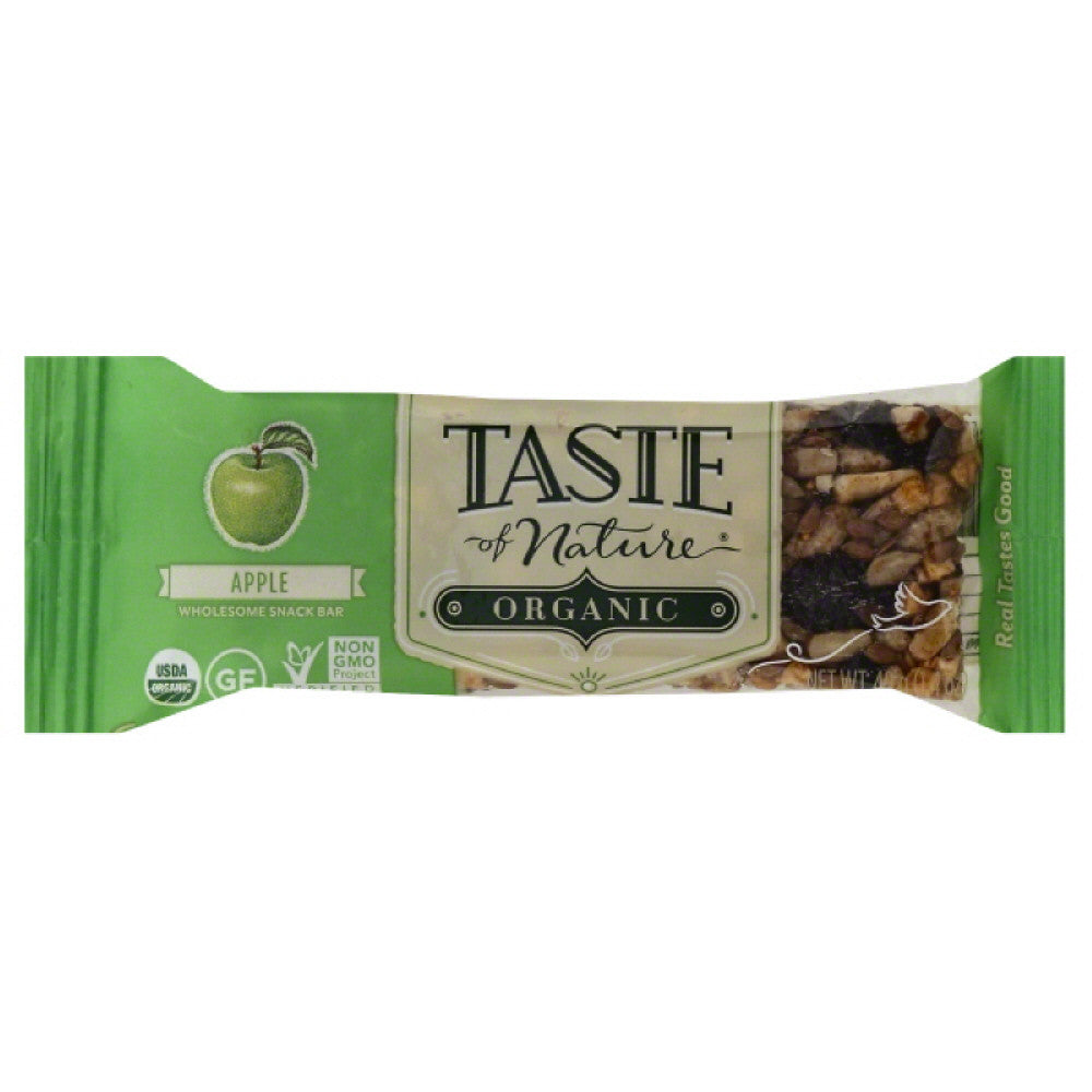 Taste Of Nature Apple Organic Wholesome Snack Bar, 1.4 Oz (Pack of 12)