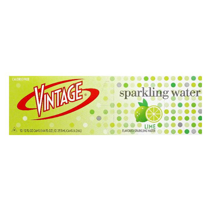 Vintage Lime Sparkling Water, 12 ea (Pack of 2)