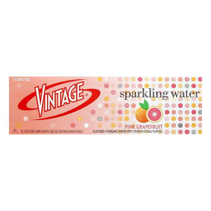 Vintage Pink Grapefruit Sparkling Water, 12 ea (Pack of 2)