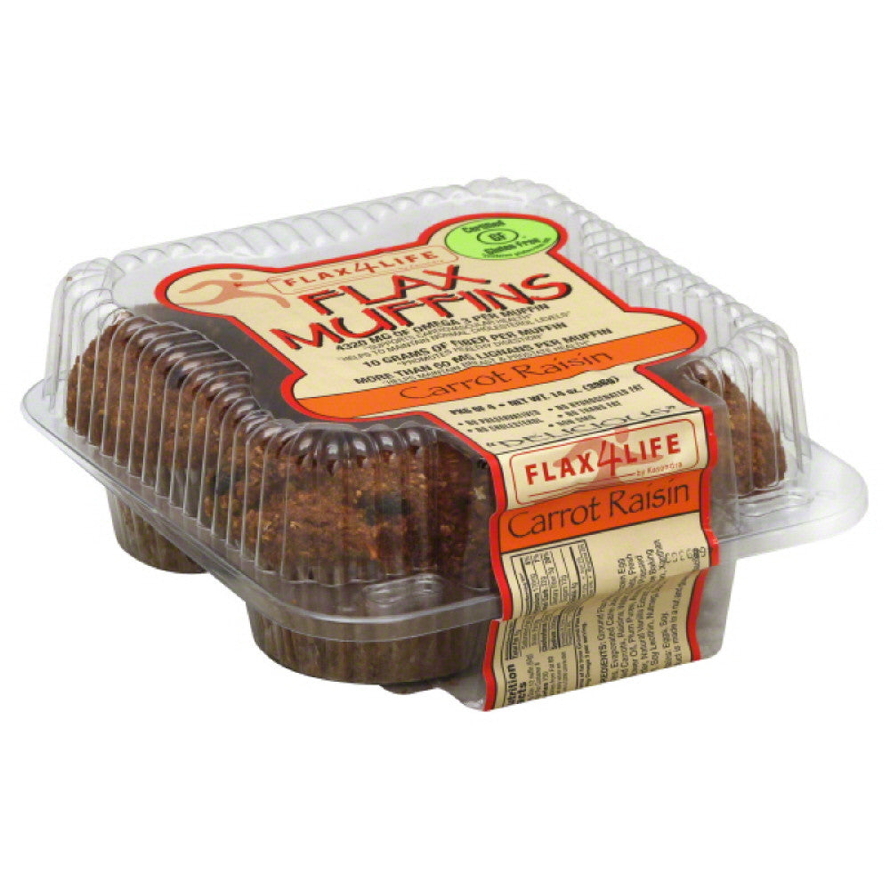 Flax4Life Carrot Raisin Flax Muffins, 14 Oz (Pack of 6)