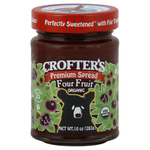 Crofters Four Fruit Organic Premium Spread, 10 Oz  ( Pack of  6)
