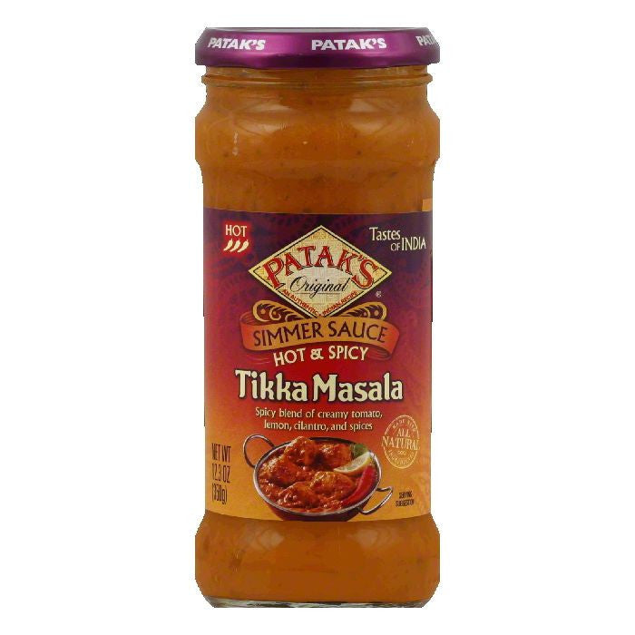 Pataks Tikka Masala Hot Hot & Spicy Simmer Sauce, 12.3 Oz (Pack of 6)