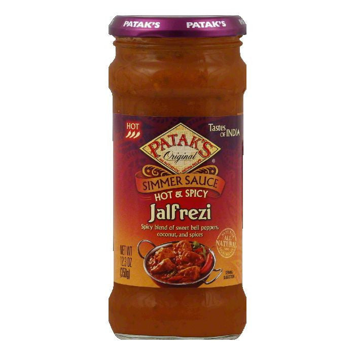 Pataks Jalfrezi Hot Hot & Spicy Simmer Sauce, 12.3 Oz (Pack of 6)