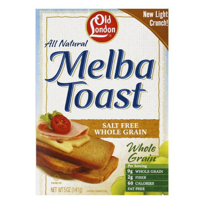 Old London Melba Toast Whole Grain Unsalted, 5 OZ (Pack of 12)
