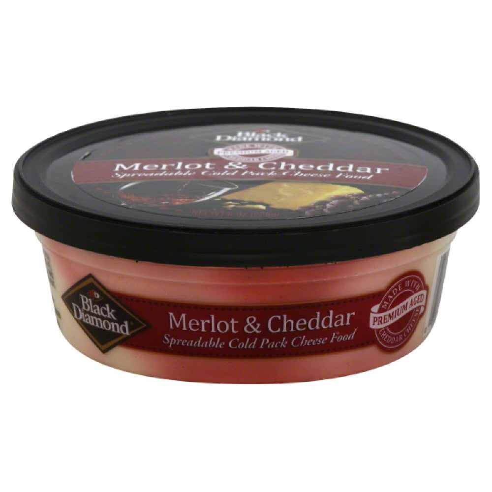 Black Diamond Merlot & Cheddar Spreadable Cheese Food, 8 Oz (Pack of 12)