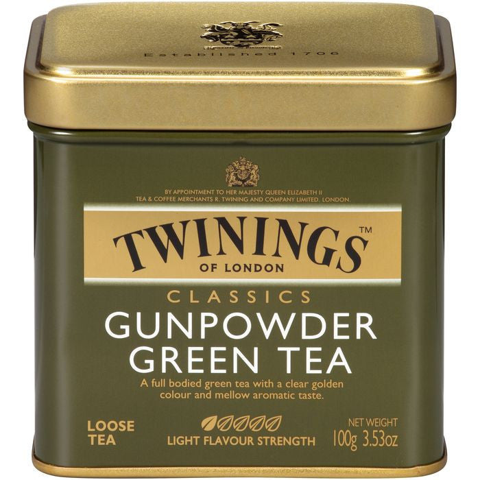 Twinings of London Gunpowder Loose Green Tea 3.53 Oz Tin (Pack of 6)