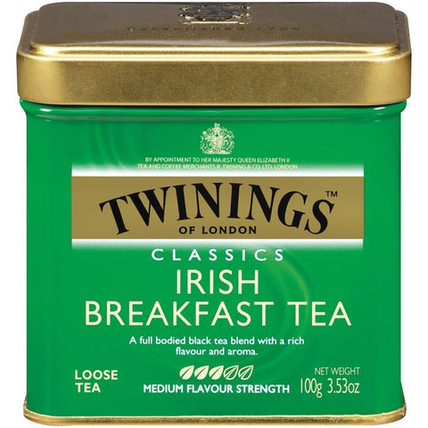 Twinings of London Classics Irish Breakfast Medium Flavour Strength Loose Tea 3.53 Oz Tin (Pack of 6)