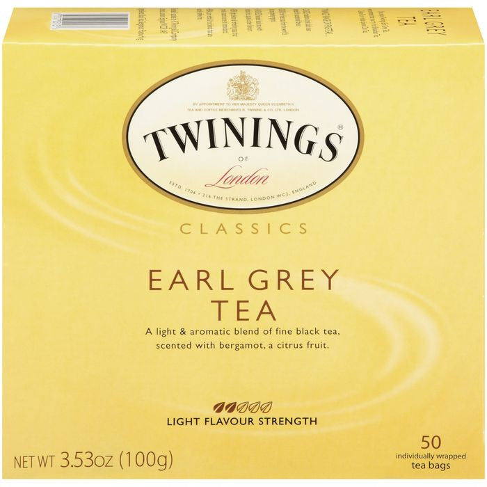 Twinings of London Classics Earl Grey Light Flavour Strength Tea Bags 50 Ct  (Pack of 6)