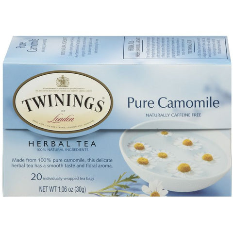 Twinings of London Herbal Pure Camomile Caffeine Free 20 Ct Tea Bags 1.06 Oz  (Pack of 6)