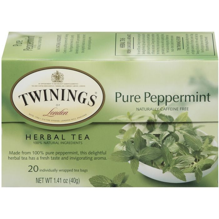 Twinings of London Herbal Pure Peppermint Caffeine Free 20 Ct Tea Bags 1.41 Oz  (Pack of 6)