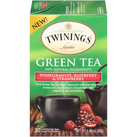 Twinings of London Pomegranate, Raspberry & Strawberry Green Tea Bags 20 ct  (Pack of 6)