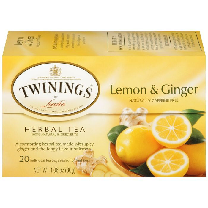 Twinings of London Lemon & Ginger Herbal Tea 20 Ct Tea Bags 1.06 Oz  (Pack of 6)