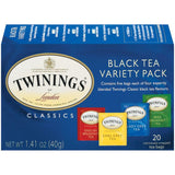 Twinings of London Black Tea Variety Pack 1.41 Oz Tea Bags 20 Ct  (Pack of 6)