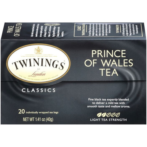 Twinings of London Classics Prince of Wales Light Tea Bags 20 Ct  (Pack of 6)