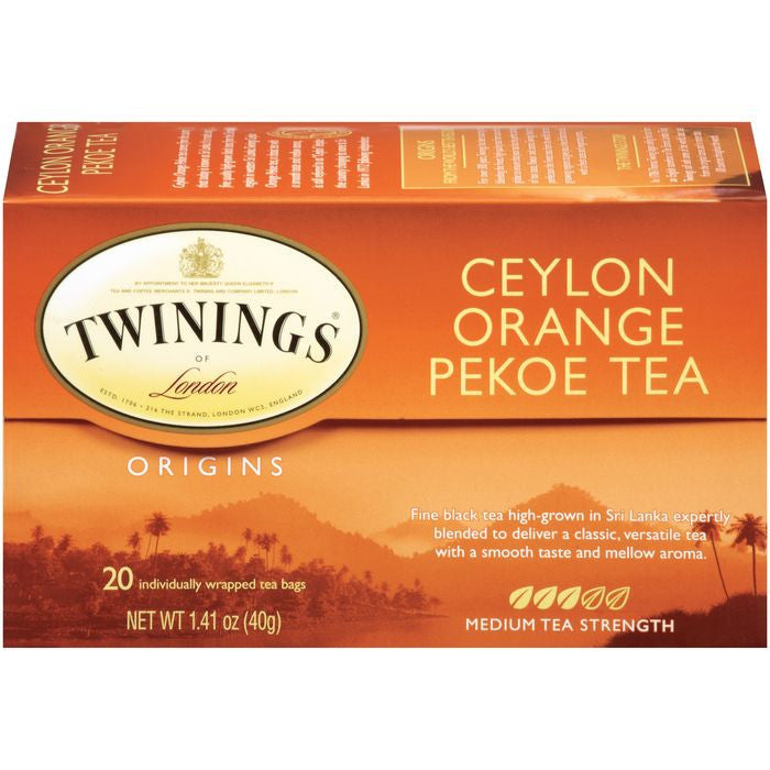 Twinings of London Origins Ceylon Orange Pekoe Medium  Tea Bags 20 Ct  (Pack of 6)