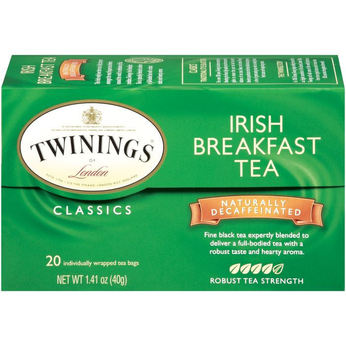 Twinings of London Classics Irish Breakfast Decaffeinated Robust  Tea Bags 20 Ct  (Pack of 6)