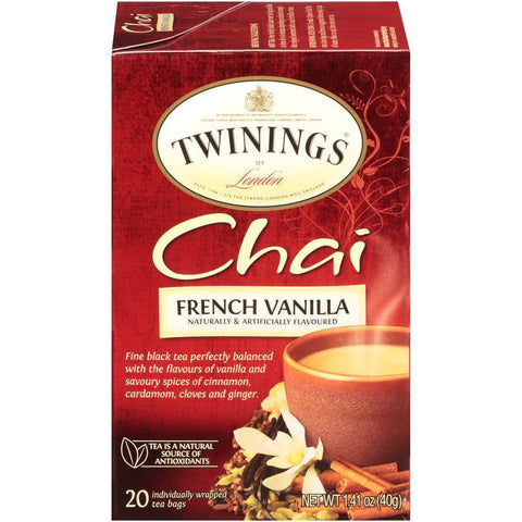 Twinings of London French Vanilla Chai Tea Bags 1.41 Oz  (Pack of 6)